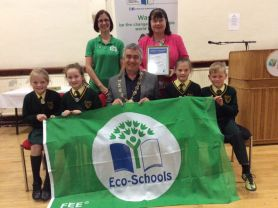 Eco Flag presented to St Patrick's at NMDDC Reception in Warrenpoint Town Hall